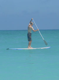 Stand up paddle surfing at Kailua Beach
