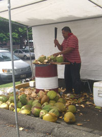 Coconut cutter at Swap Meet